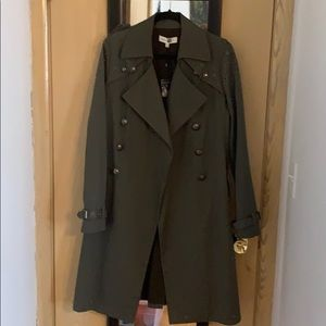 Rebecca Minkoff Army green trench coat w/grommets